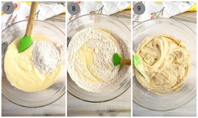 Step By Step Instructions, Dried ingredients in a bowl with cookie dough, Bowl showing mixing flour into dough, bowl with finished lemon ricotta dough