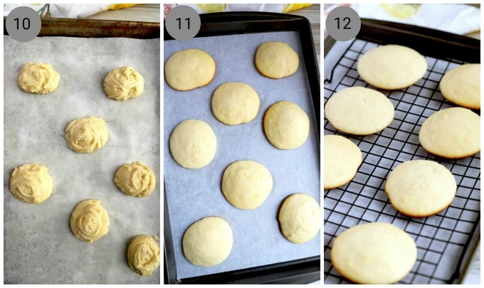 Dough spponed on a cookie sheet, baked cookies out of the oven, lemon cookies cooling on a cooling rack.