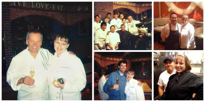 Collage of photos showing Kathy McDaniel and Wolfgang, Puck, Kathy McDaniel and The Food Network crew on set, Kathy and Jet Tila, Kathy and Robert Bleifer, Kathy and a line cook in a restaurant.