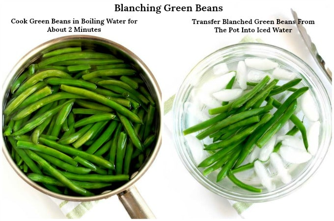 Blanching green beans in a pot with boiling water and then placing the blanched green beans in a bowl with iced water