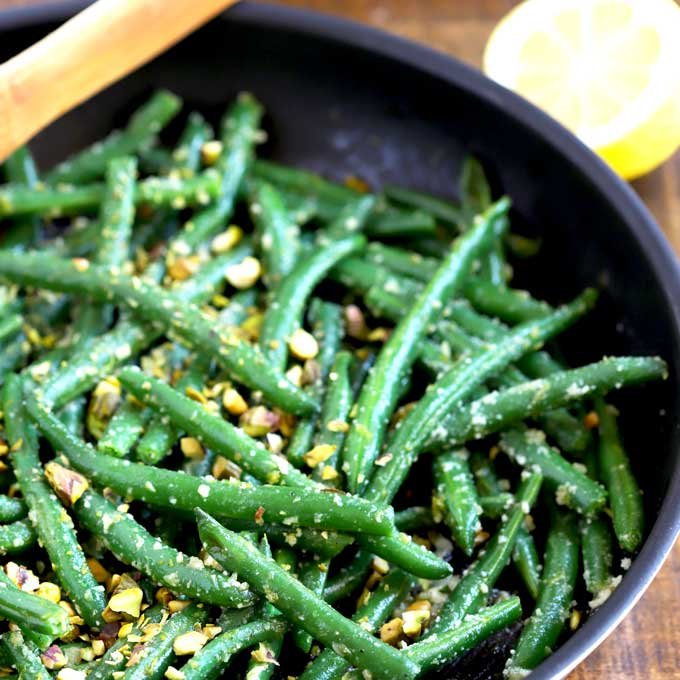 Sauteed Green Beans in a skillet.
