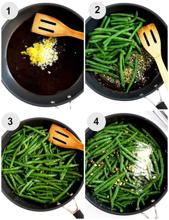 Step By Step photos for making Sauteed Green Beans with Garlic and Lemon