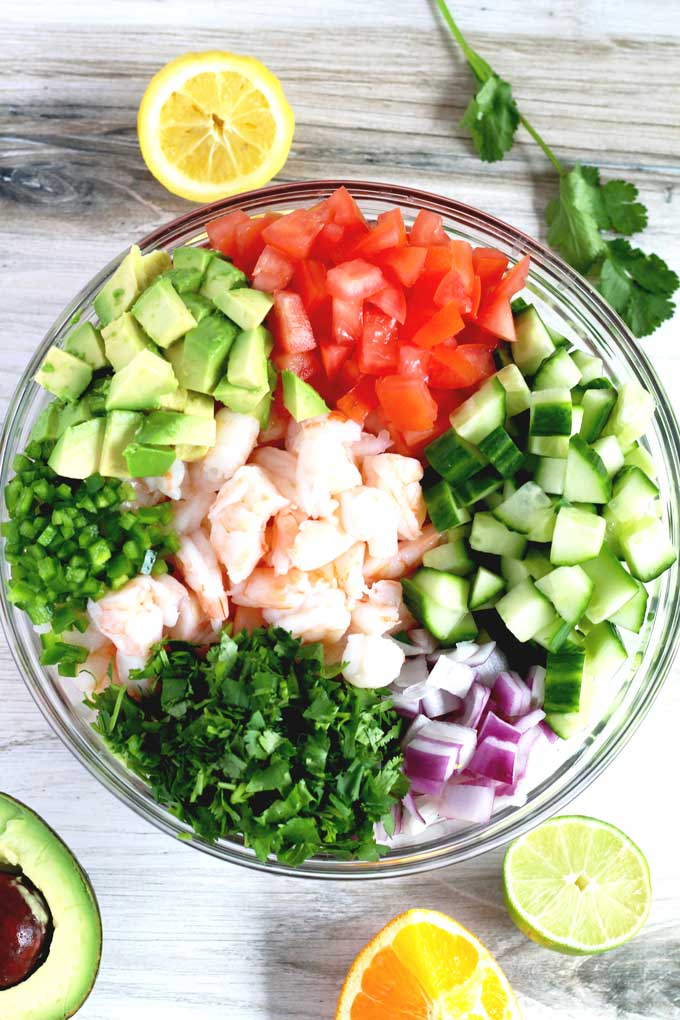 All the vegetables and herb to make shrimp ceviche.