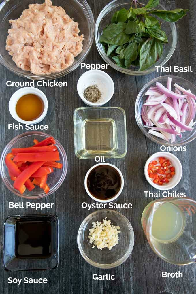 In this image you can see all the ingredients used in this ground chicken recipe.