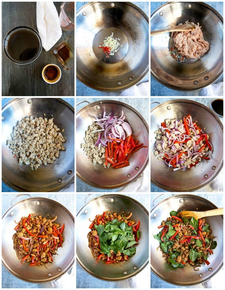 A collage of photos showing step by step instructions on how to make this Thai chicken recipe.