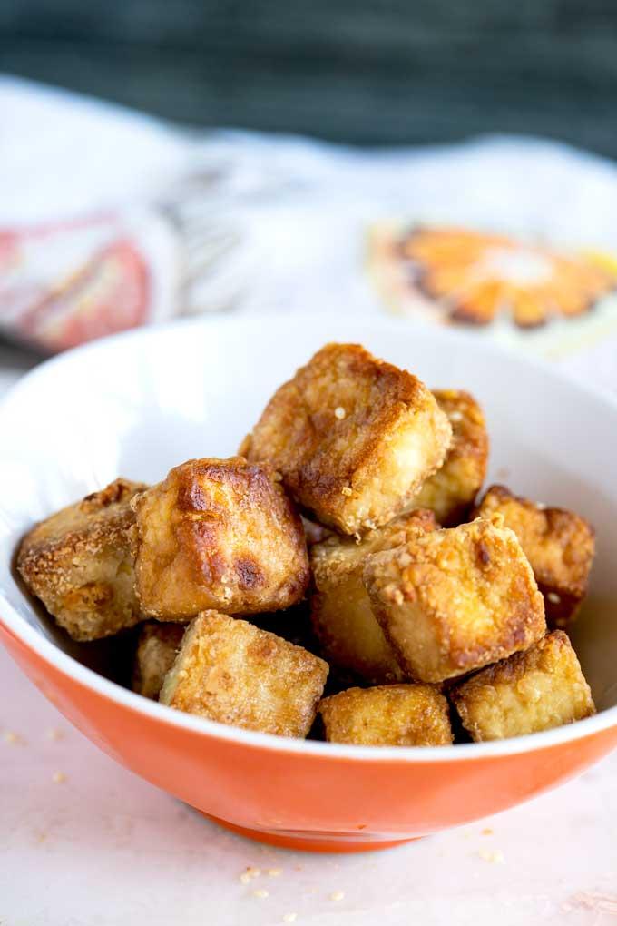 Crispy Tofu cubes in a bowl