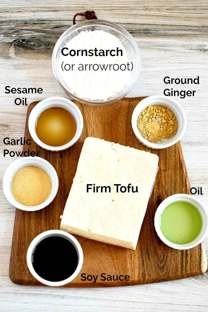 Ingredients to make crispy tofu baked in the oven.