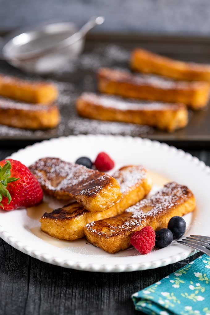 Cinnamon French Toast served on a white plate
