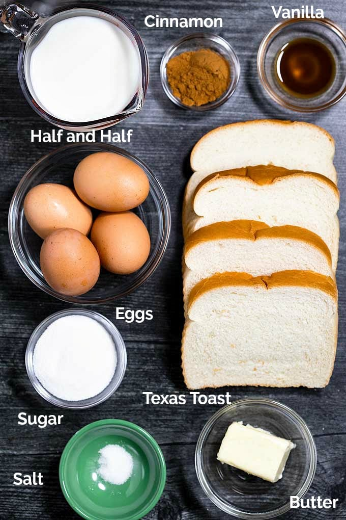 Ingredients to make French toast sticks
