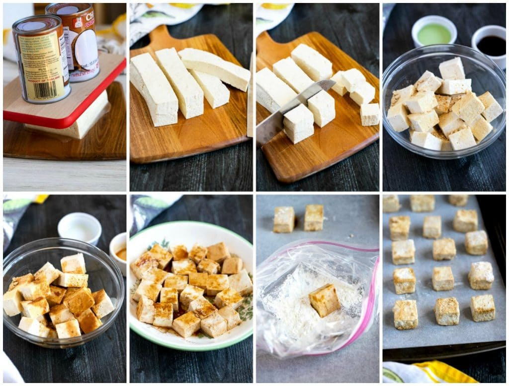 Collage of images on how to bake tofu, step by step.
