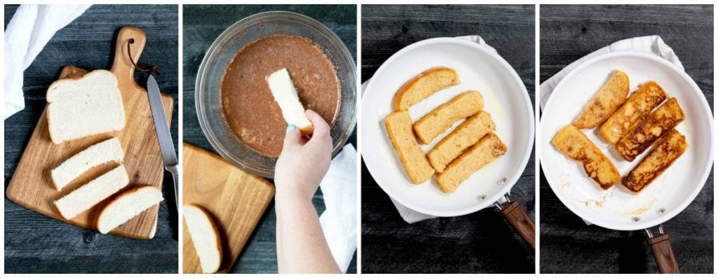 Collage of step by step photos of how to make French toast sticks