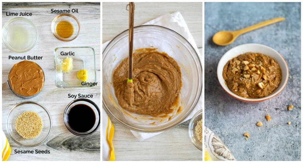 Collage of 3 photos, ingredients to make peanut sauce, a bowl with sauce been mixed, peanut sauce in a small serving bowl garnished with sesame seeds and chopped peanuts