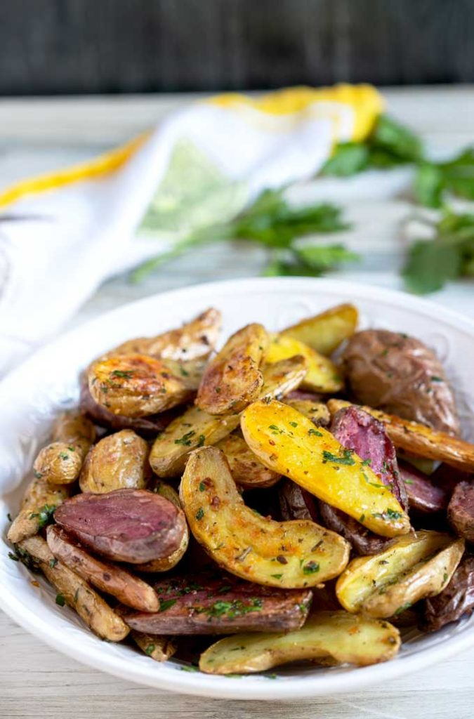 Roasted fingerling potatoes in a bowl