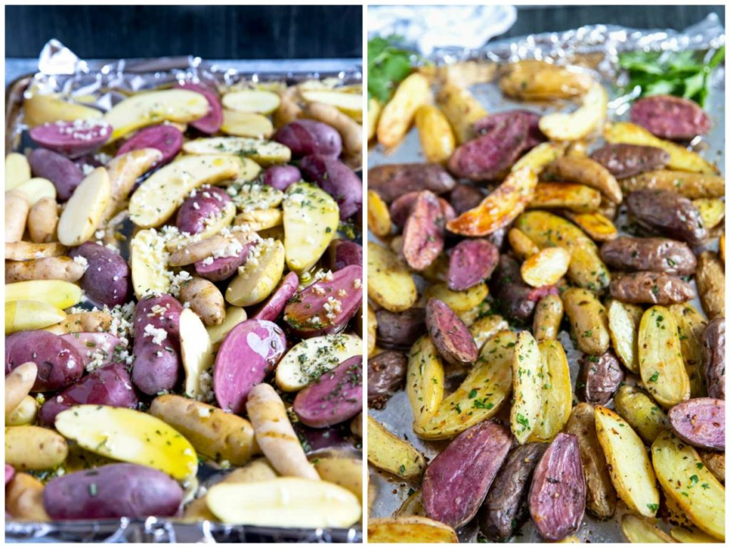 Step by step photos on how to roast potatoes