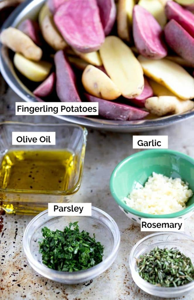 Ingredients to make oven toasted potatoes