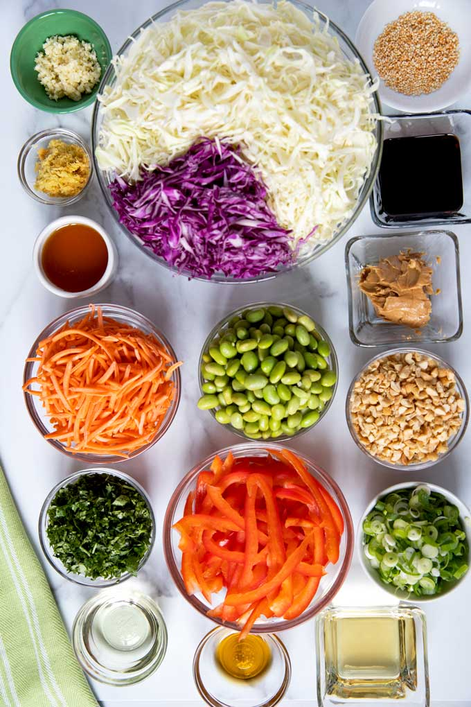 Ingredients to make this mayo-free slaw and the Ginger Sesame Peanut Dressing.