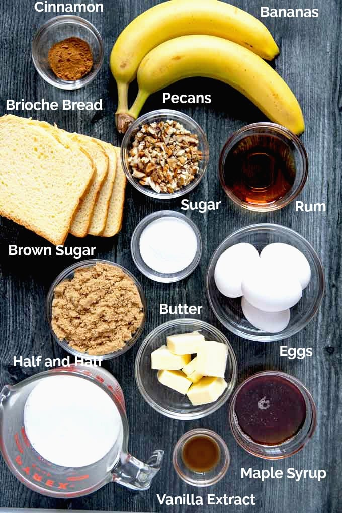Ingredients to make Banana Foster French Toast