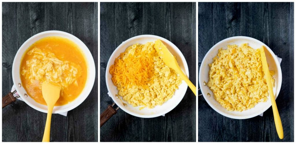 Step By Step photographs on how to make this taco recipe - scrambled eggs