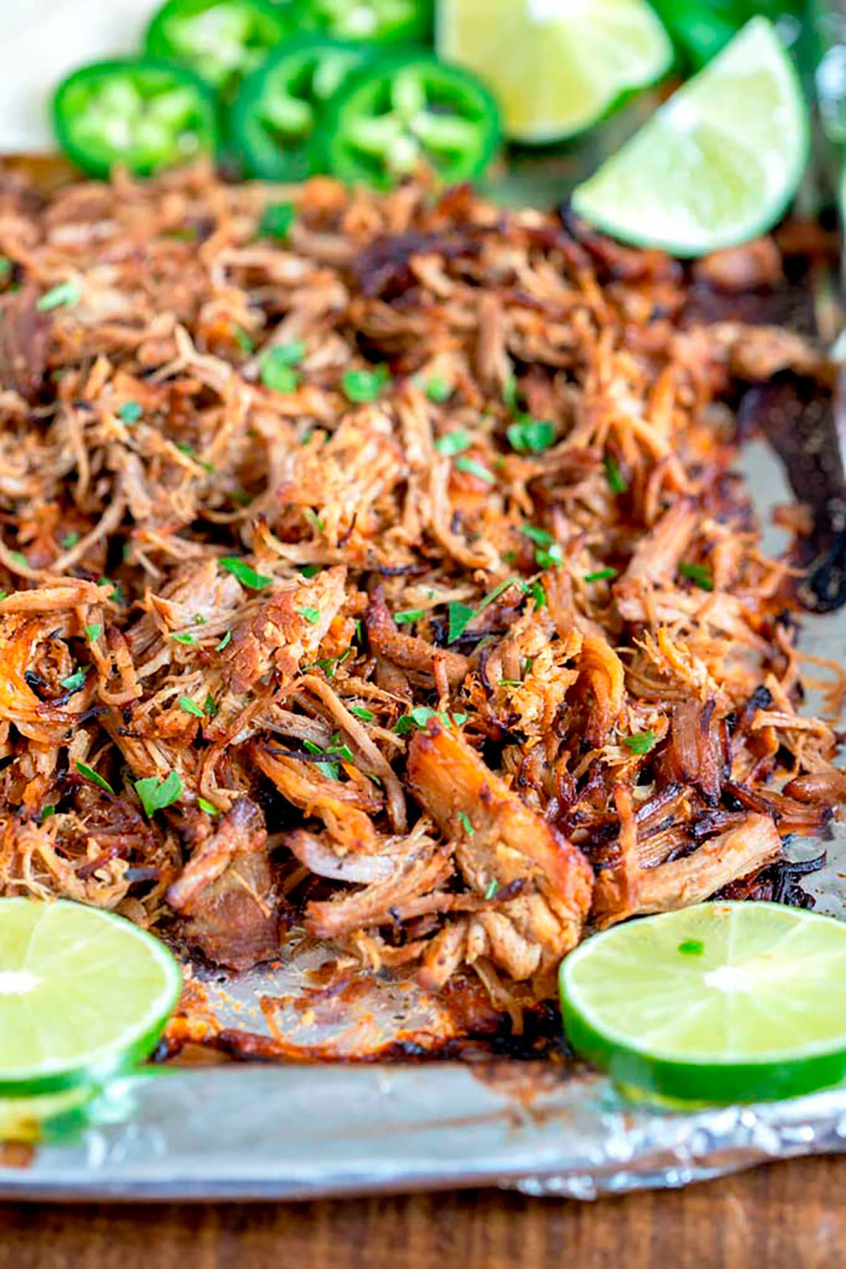 A baking sheet filled with Mexican pulled pork