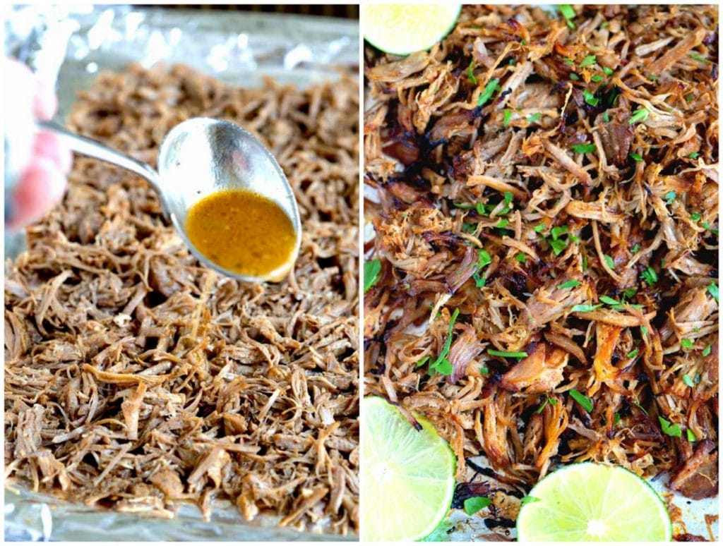Step By Step photos on how to my this pork recipe. A sheet pan with shredded pork carnitas getting drizzled with cooking liquid and a second baking pan with broiled crispy pork