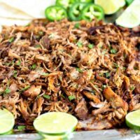 Instant Pot Pork Carnitas are mouthwatering tender and juicy. Cooked in the pressure cooker then broiled to golden crispy perfection.