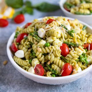 Pesto Pasta Salad in a white bowl