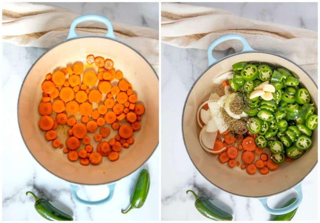 Picture here, step by step photos on how to make this recipe. In a Dutch oven carrots are getting sauteed. Next, a Dutch oven with sauteed carrots, onions, jalapenos, garlic and spices.