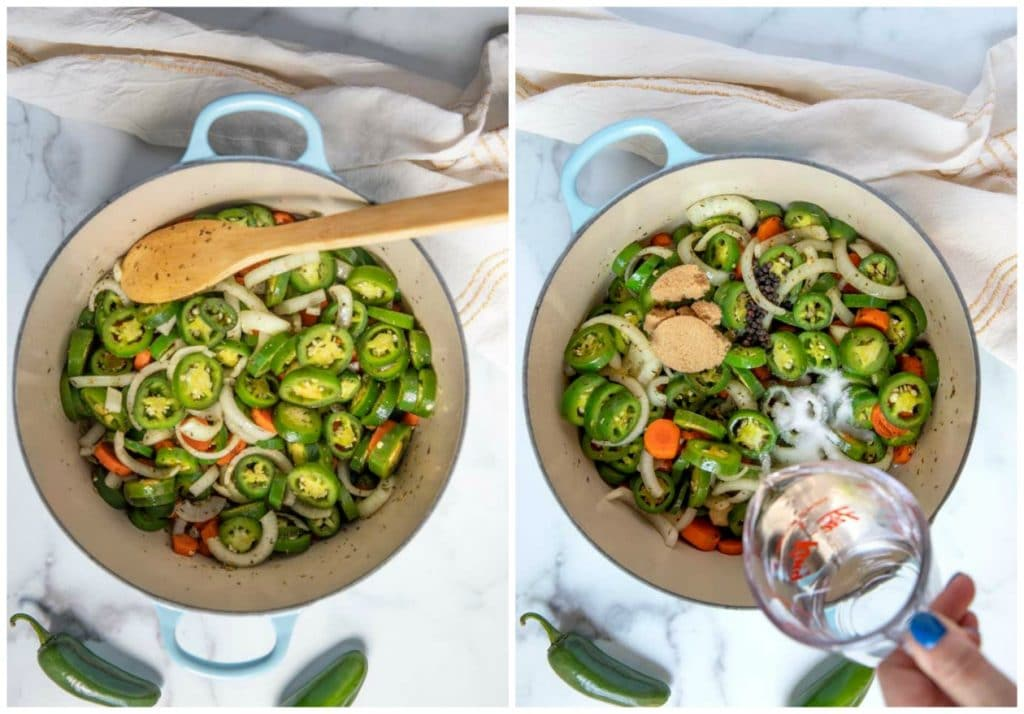 Pictured here, step by step photos on how to make this recipe. In a Dutch oven, vegetables are sauteed and other ingredients are added. Next step is the mixture simmering.