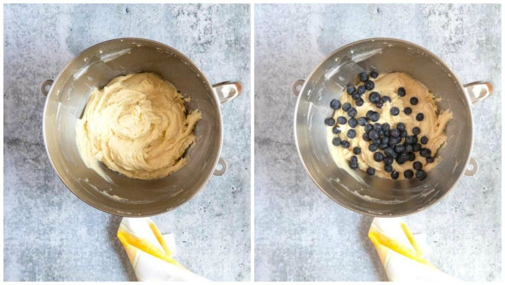 Step By Step photos, folding fresh blueberries into the cake batter.