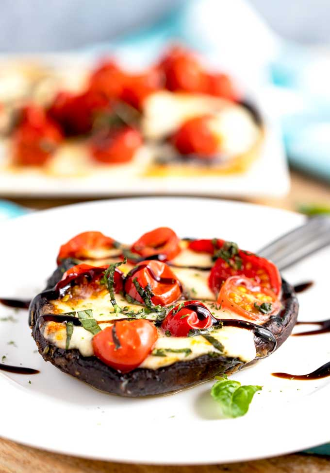 A grilled portobello mushroom stuffed with melted mozarella, tomatoes, basil and drizzled with balsamic glaze on a white plate.