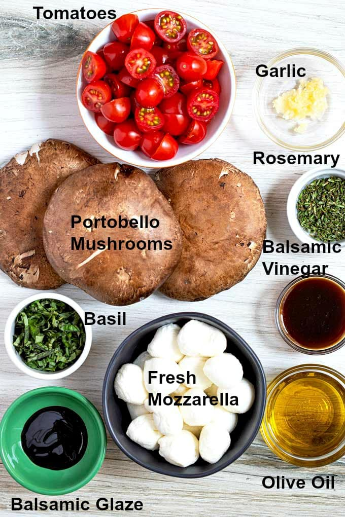 Ingredients to make Grilled mushrooms caprese