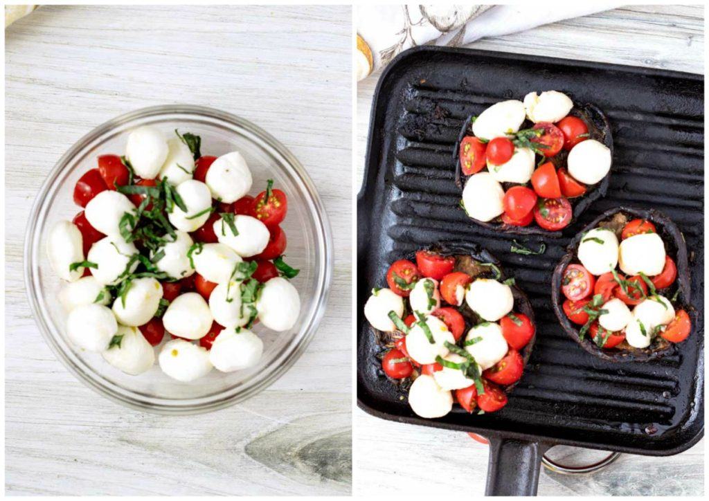 Step by step photos for making this recipe. Caprese salad in a bowl. Grilled mushrooms stuffed with caprese ingredients