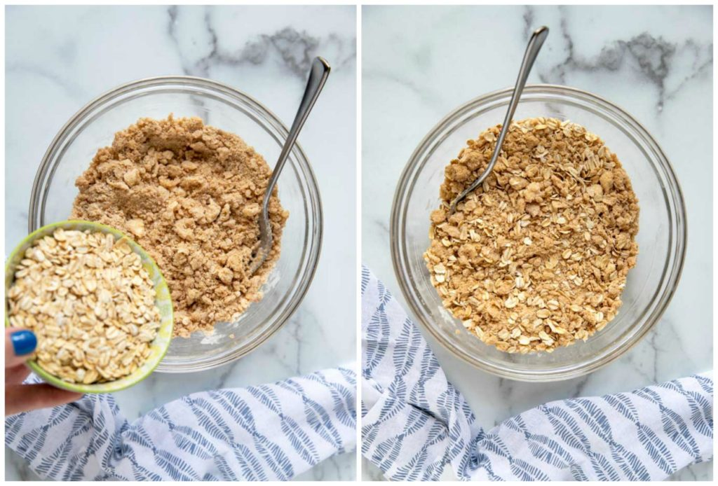 Step by Step photos on how to make this fruit crisp recipe. Adding the oats into the streusel.