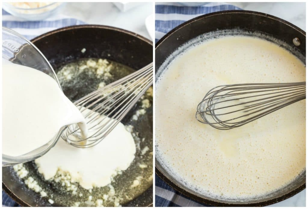 Step by step photos on how to make alfredo sauce. Pouring the cream and simmering.