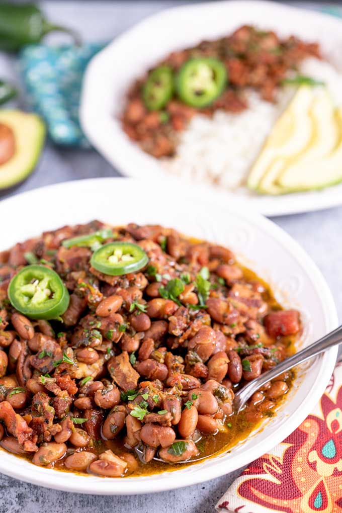 A bowl of authentic Mexican Charro beans.