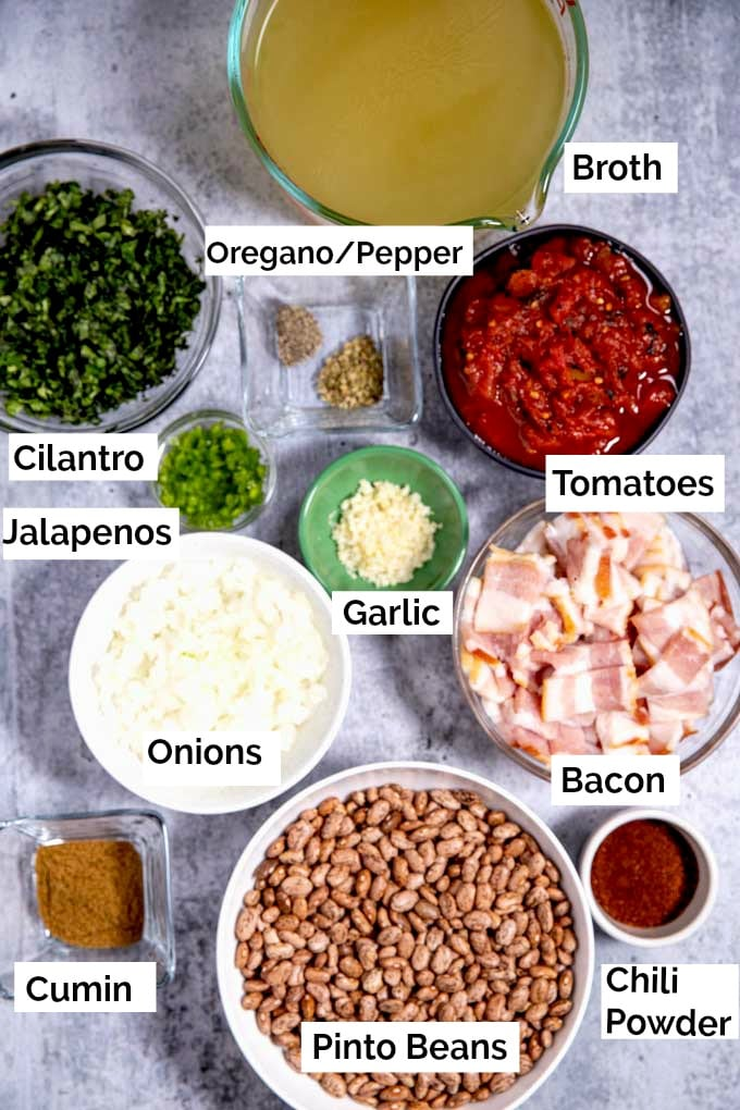 Ingredients to make Charro Beans in the instant pot or pressure cooker.