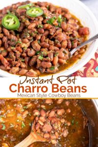 Charro Beans - Delicious Mexican style pinto beans flavored with bacon, onions, tomatoes, cilantro and spices. This budget friendly and easy to make side dish is sure to become one of your favorite Instant Pot recipes.