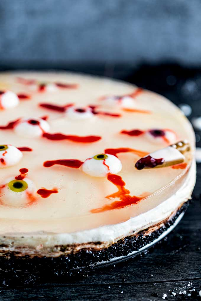 Halloween No Bake cheesecake with bloody candy eyeballs
