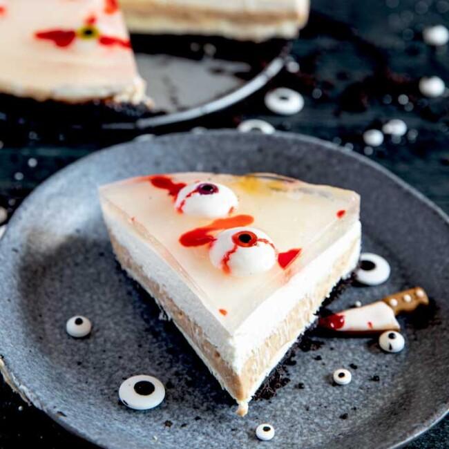 Slice of spooky no-bake cheesecake