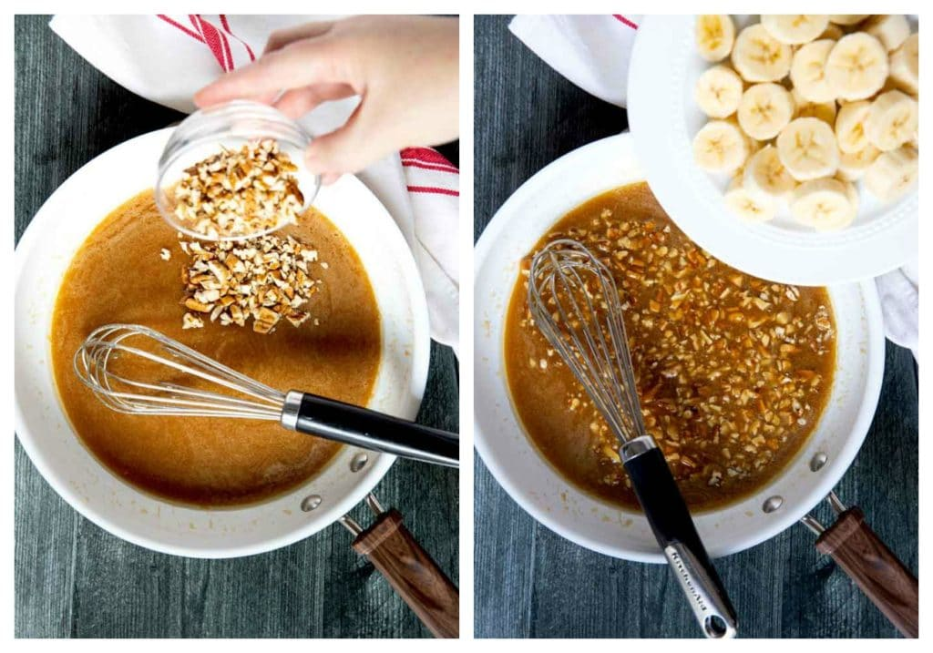 Step by step photos on how to make Bananas Foster French Toast