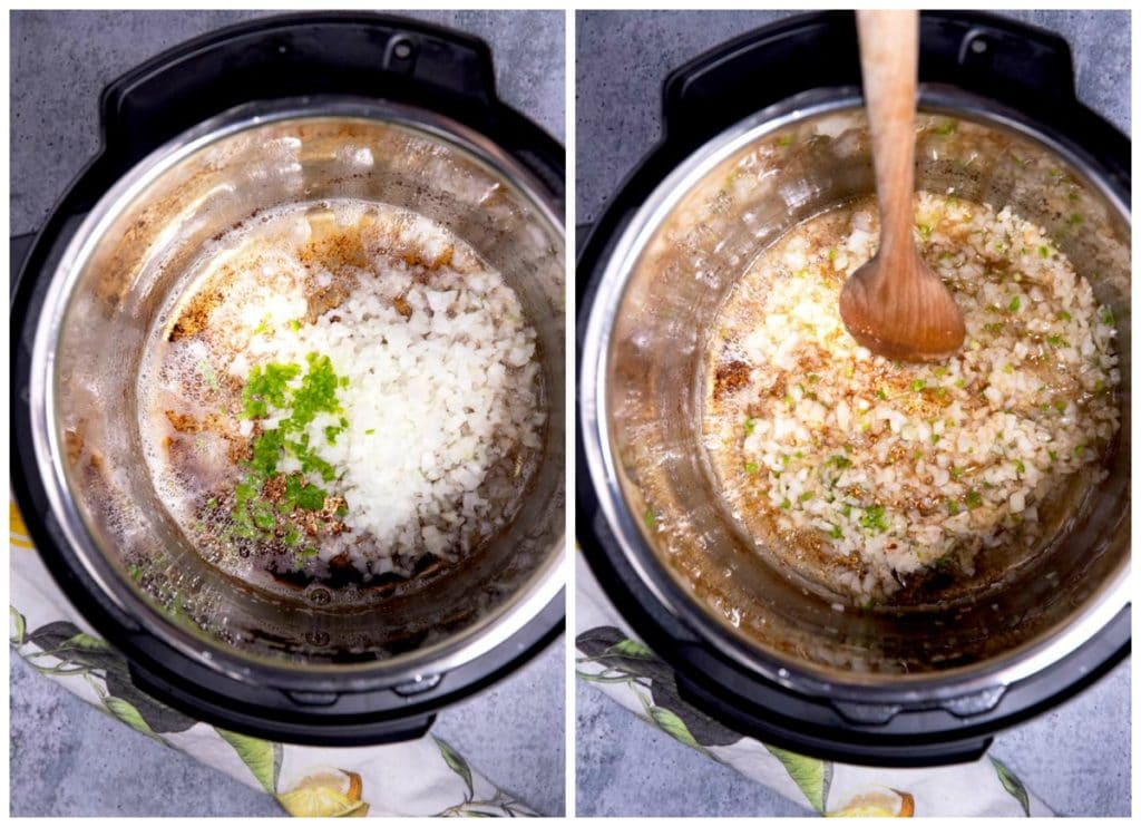Onions, jalapenos and garlic sauteing in an instant pot