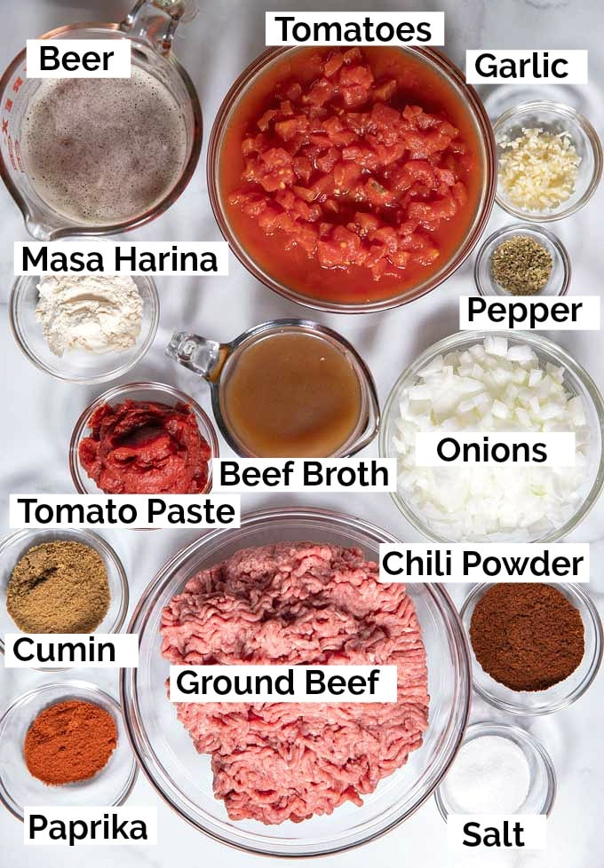 Ingredients to make Texas Style Chili