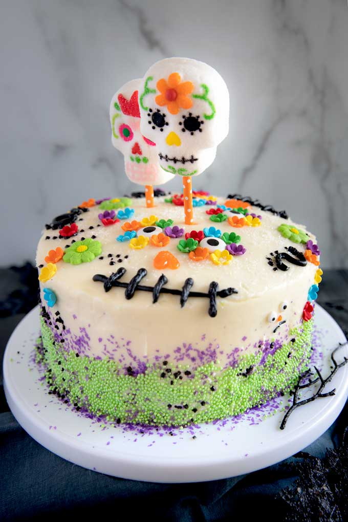 Dia de los Muertos Cake on a white plate