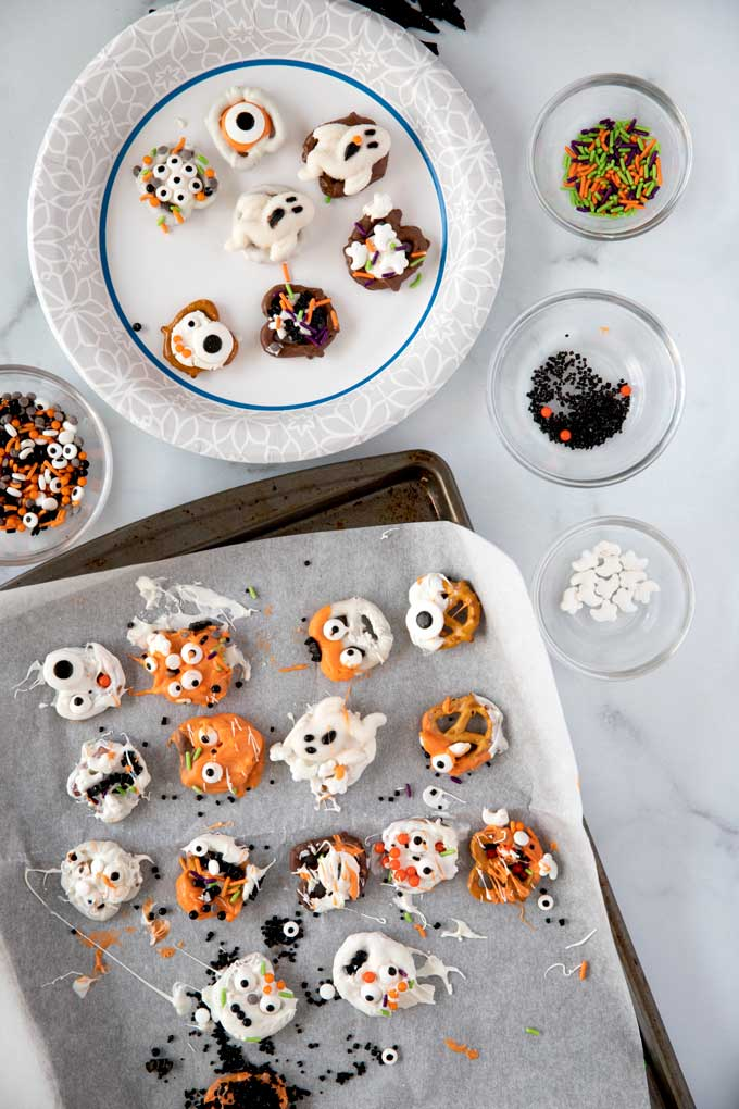 Halloween decorated pretzels
