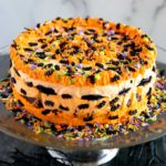 Halloween Icebox Cake on a cake pedestal
