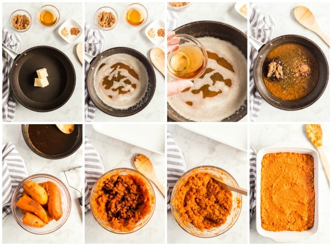 How To Make Sweet potato casserole step by step photo collage
