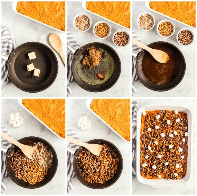 How To Make crunchy topping for the casserole step by step photo collage.