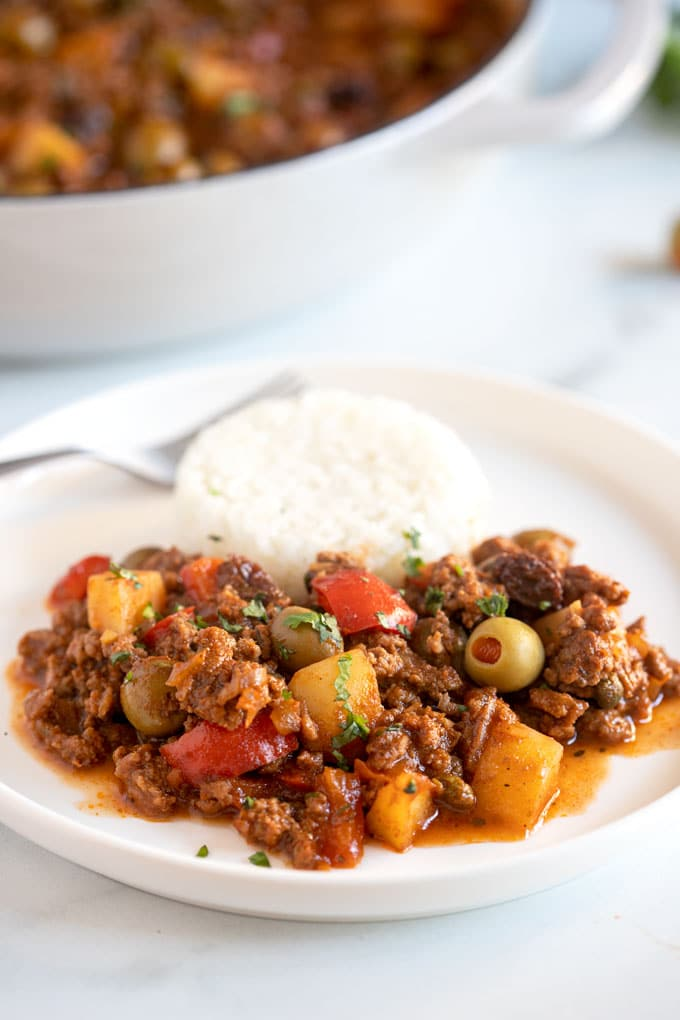A plate of Cuban picadillo served with white rice