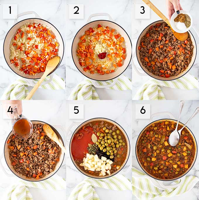 Step by step photos on how to make Cuban Picadillo