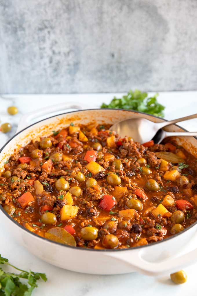 Cuban ground beef dish in a skillet